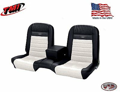 Deluxe PONY Seat Upholstery  Ford Mustang, Front Bench Seat - Black & White