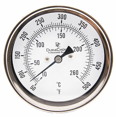 "Adjustable Bimetal Thermometer 5"" Face x 6"" Stem, 50-500F w/Calibration Dial"