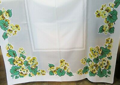 Vintage Print Tablecloth Green and Gold Geraniums Theme