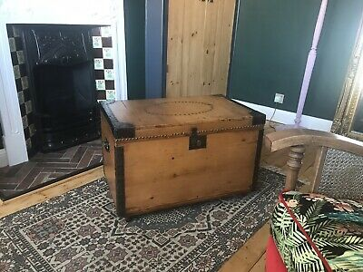 Antique Pine Blanket Box, Trunk, Chest, Coffee Table