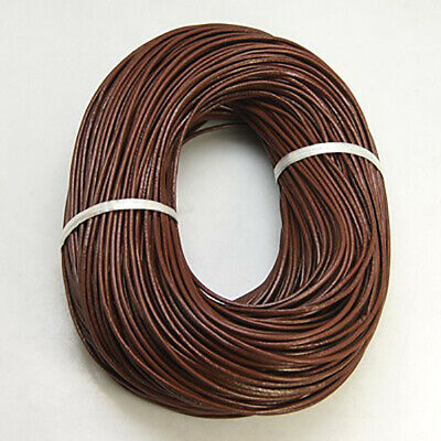 2 Metres Real Leather Cord 2mm Brown Bracelet Necklace Jewellery Making