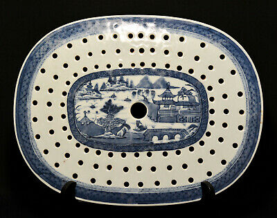 Chinese antique blue and white Canton strainer or flat dish -14 x 10.5 x 0.5 🐘