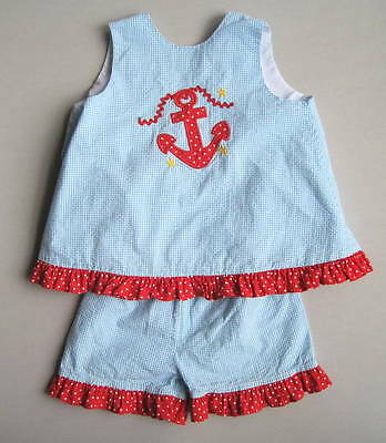 TWO SCOOPS Girls 6 Yrs Blue Seersucker Check Anchor Shorts Set Ruffled