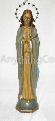 ANTIQUE CHURCH STATUE CARVED WOOD - Virgin Mary - Italy