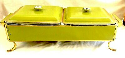 Vintage Mid-Century Anchor-Hocking Double Chafing Dish with Lids & Pyrex Liners