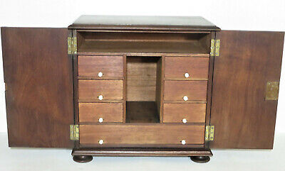 Antique Victorian Walnut Tabel/Desk Top Document Cabinet