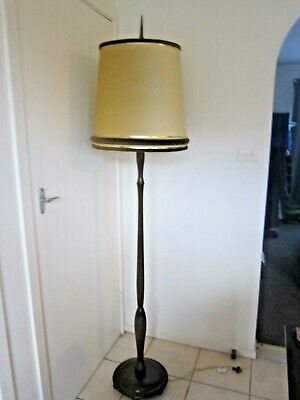 Vintage Retro Timber Base Standard Floor Lamp with Very Retro Velvet Shade