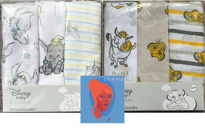 Disney Dumbo The Lion King Baby GIRL BOY Muslins Squares PRIMARK Set of 3 BNWT
