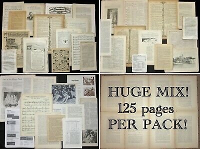 FINE MIX!Vtg&Antique Paper Pack:Music,Bible,Old Books~Junk Journal Art Craft Lot