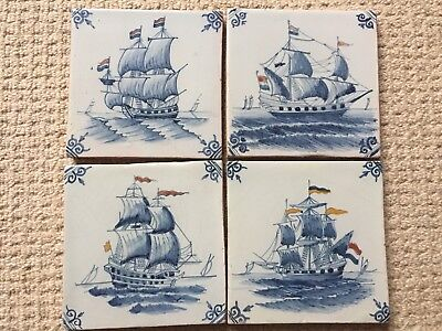 4 Early Delft Tiles Depicting Ships
