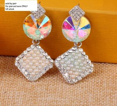 PAGEANT CRYSTAL RHINESTONE CHANDELIER DANGLE EARRINGS PROM Square cz AB WHITE