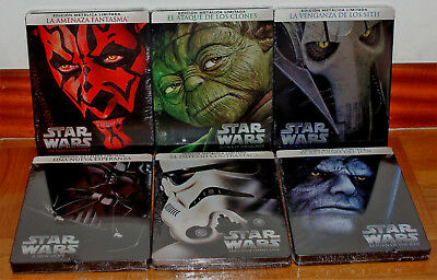 Star Wars Saga I Ii Iii Iv V Vi New Steelbook 6 Blu-Ray Action (Sleeveless Open)