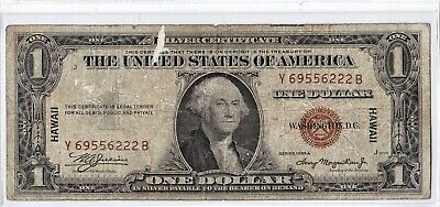 $1 1935 A Hawaii Silver Certificate War Time WWII Emergency Issue RARE Y-B Block