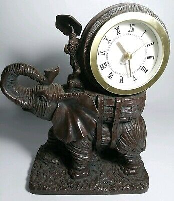Vintage Resin Elephant Trunk Up With Riding Monkey With Umbrella Clock Works Guc