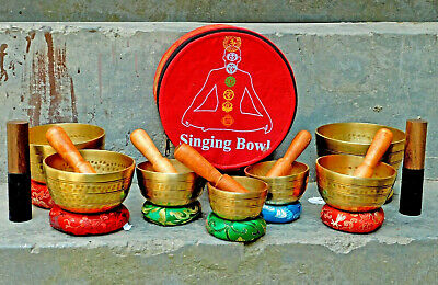 Set of 7 Singing bowl-Tibetan Sound Bowl seven Chakra Healing Yoga Meditation