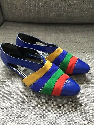 Womens Vintage 80s Blue Rainbow FIORDILUNA Italy Suede Leather Flat Shoes 41.5