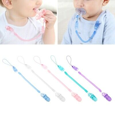 Baby Toddler Spring Dummy Pacifier Soother Nipple Clip Chain Holder Strap XC