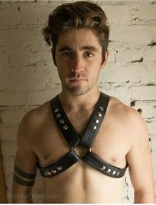 Genuine Black Leather and Steel Chains Men's Adjustable Chest Body Harness NEW
