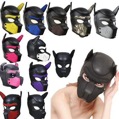 Dog Full Head Mask Sexy Adult Cosplay Role Play Soft Padded Latex Rubber Puppy