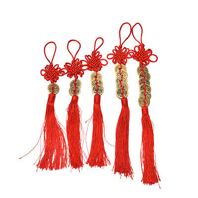 Chinese Feng Shui Protection Fortune Lucky Charm Red Tassel String Tied Coins  T