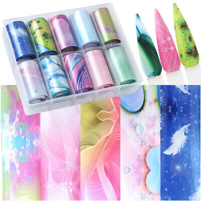 10pc/set Holographic Foil Starry Sky Wraps Nail Transfer Sticker Manicure Decor
