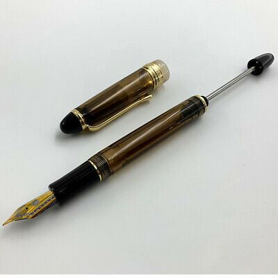 Wing Sung 699 Brown Translucent Vaccum Filling Fountain Pen 0.5mm Fine Nib Gifts