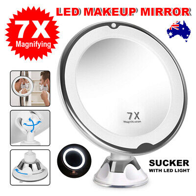 7x Magnifying Makeup Mirror With LED Light Cosmetic Vanity Bathroom Suction