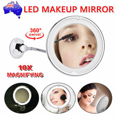 Flexible Illuminated 10X Magnifying Makeup Mirror with Bendable Neck LED Light