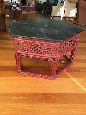 Genuine antique chinese horsehoe backed bamboo chair / table art deco style #2