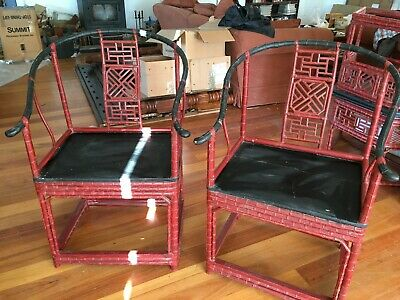 Genuine antique Pair of chinese horsehoe backed bamboo chairs art deco style