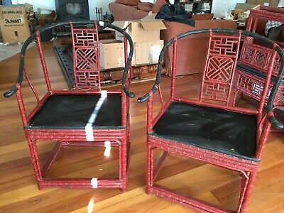 Genuine antique chinese horsehoe backed bamboo chair / table art deco style #1