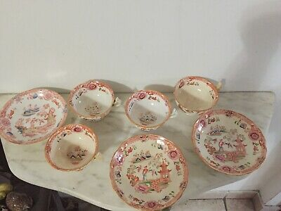 Antique Old Chinese 1800's 4 Cups & 3 Saucers