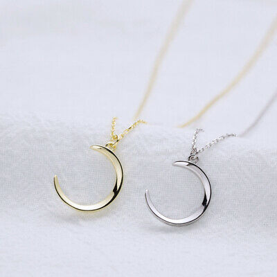 NEW Womens Classic Real S925 Sterling Silver Moon Pendant Necklace Choker