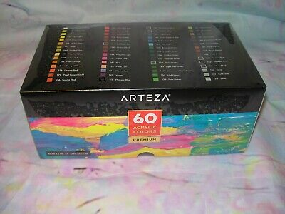 New Arteza 60 Ct Acrylic Paints In Box Premium