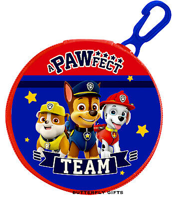Children's Kids Character Paw Patrol PVC Coin Wallet Purse Zip Clip Pawfect New
