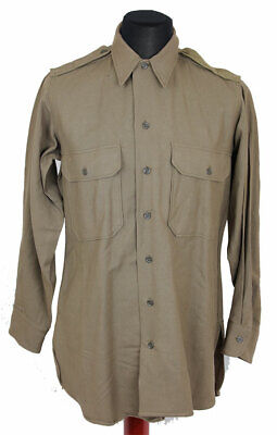 Original 1945 Wwii Us Army Enlisted Wool Khaki Mustard  Shirt Size 15-33