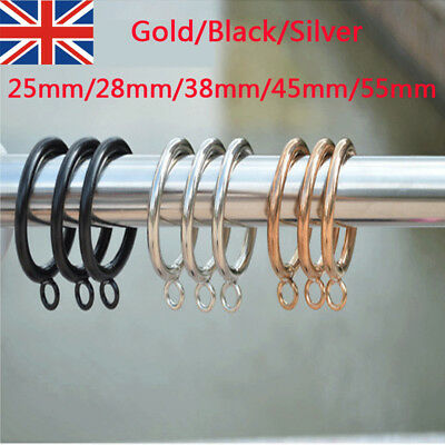10x METAL CURTAIN RINGS HOOKS POLE ROD VOILE NET CURTAINS HANGING 25-55mm @honor