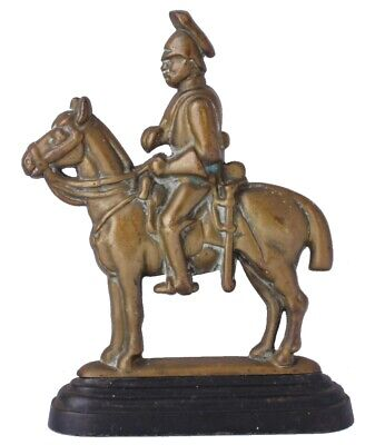 Vintage Soldier & Horse Door Stop Porter. Antique Brass Doorstop Figure Ornament