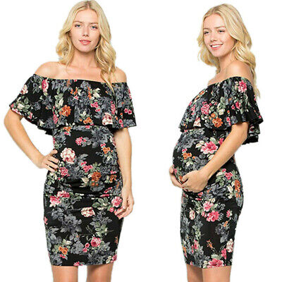 Pregnant Womens Floral Sexy Off Shoulder Mini Sheath Dress Maternity Party Dress