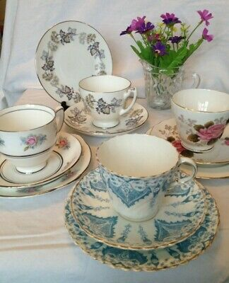 Vintage English Bone China Trios x 11 - Duchess,Coalport, VERY old blue/white
