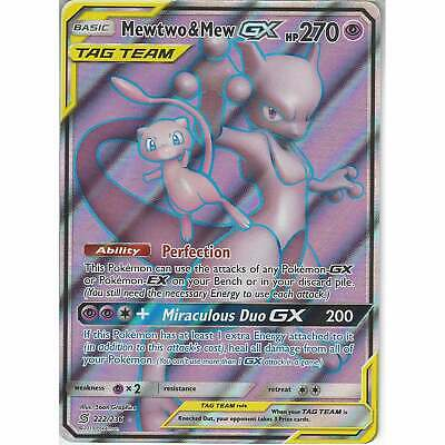 222/236 Mewtwo & Mew TAG TEAM GX | Rare Ultra Card | Pokemon Unified Minds SM-11