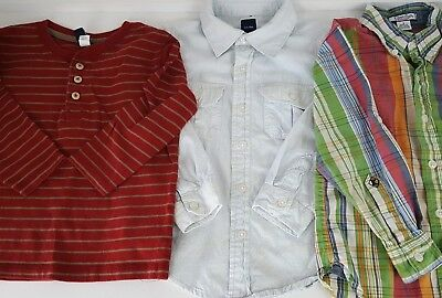 Kitestrings BabyGap Lot 3 Blue Red Plaid Boys Button Henley Shirts Size 4 4T