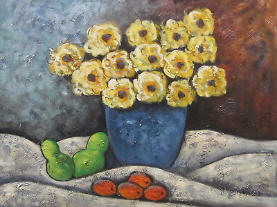 """Yorkshire Yellow Flowers Original Hand Painted 20""""x24"""" Oil Painting Floral Art"""