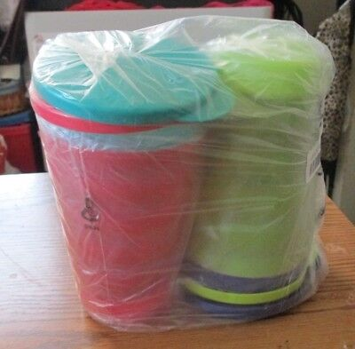 New Tupperware In Package-Set Of 4 Impressions 16 Oz Glasses And Dripless Seals