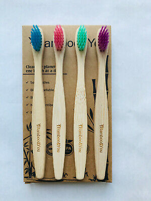 Kids Bamboo Toothbrush 4 Pack Multi-Coloured Biodegradable Same Day Dispatch!!!