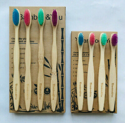 Family Pack Bamboo Toothbrush 8 Pack Multi-Coloured Biodegradable Adults & Kids