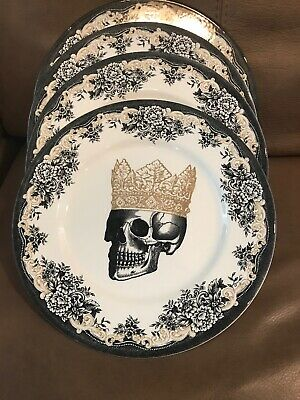 The Victorian English Pottery 4 Halloween Skull Crown King Dinner Plates Dishes