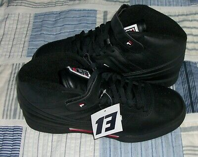 FILA MEN'S F 13V Lea Black, Red, And White Sneakers NEW Size
