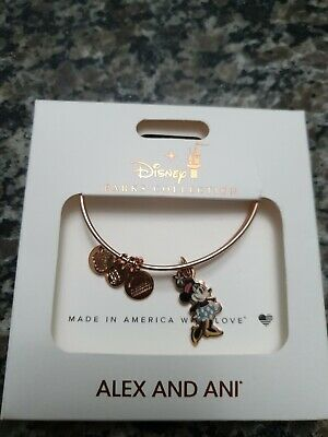 Disney Parks Alex and Ani Minnie Mouse Silhouette Charm Bracelet Rose Gold New