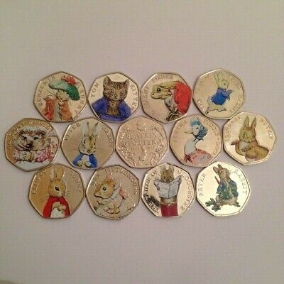 Circulated Coloured Beatrix Potter 50P Coins 2016 2017 2018 Free Gift With Sets